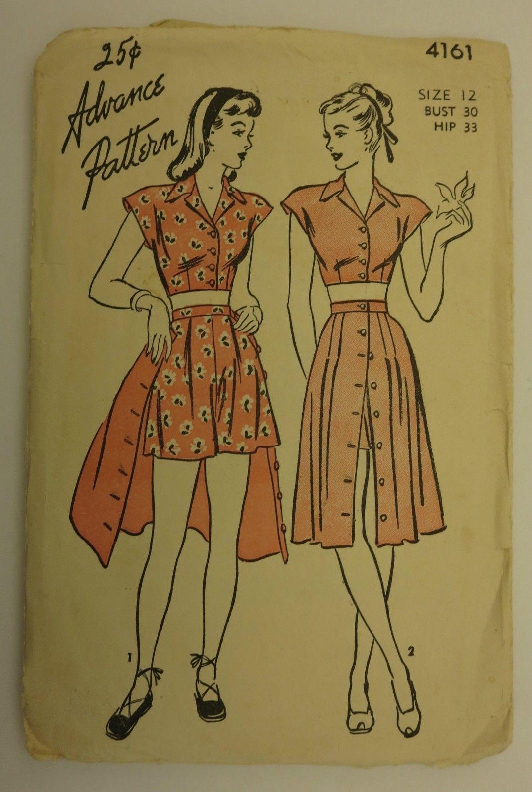 Vtg 40s Advance Playsuit Dress Pattern 4161 Midriff Top Shorts Skirt Bust 30 | eBay