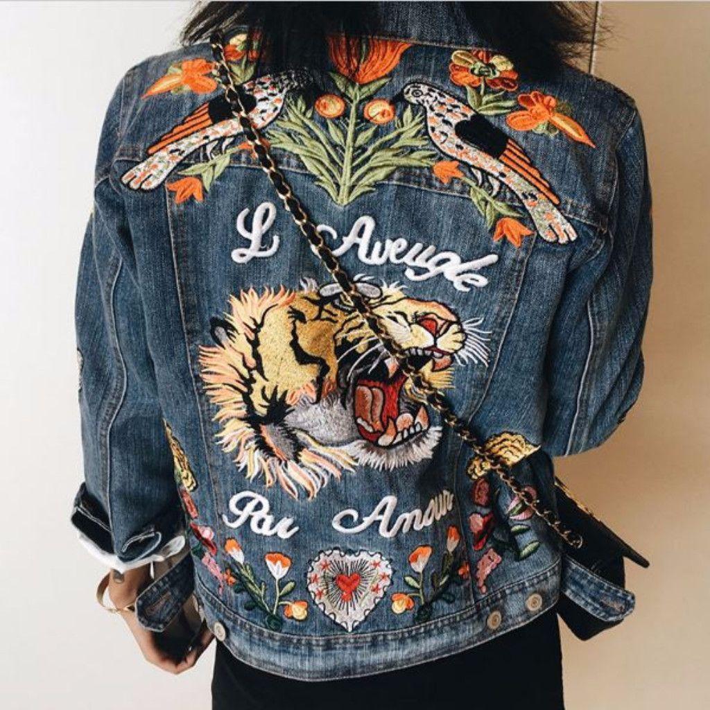 Basic Embroidered Animal Pattern Women Denim Jacket Wish Want