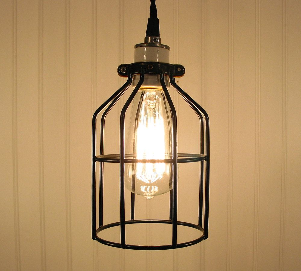 industrial pendants lighting. Industrial Cage Inspired PENDANT Light With Edison Bulb :: #69 | LampGoods Pendants Lighting R