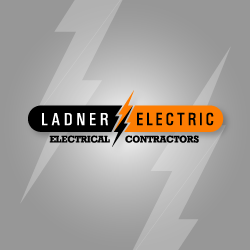 logo design ladner electric two colors lightning bolt