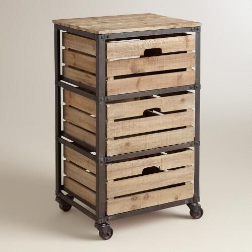 Add Some Rustic Charm To Your Home Office With Our Handsome Three Drawer Cart Featuring Crate Inspired Slat Wood Drawers A Distressed Metal Frame And