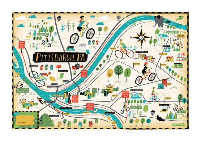 Pittsburgh Bike Map By Bicycle Times By They Draw Cook Travel