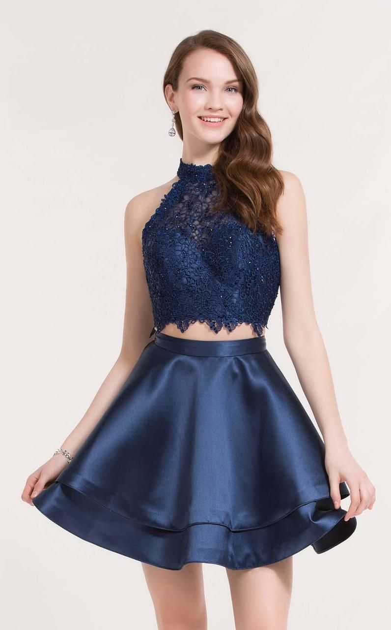 Alyce Paris 3735 Two Piece Halter Lace Cocktail Dress In 2021 Homecoming Dresses Short Cocktail Dress Lace Blue Homecoming Dresses [ 1280 x 796 Pixel ]