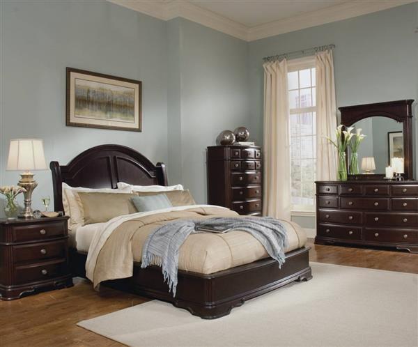 Grandover Rich Cherry Wood Master Bedroom Set Dark Wood Bedroom