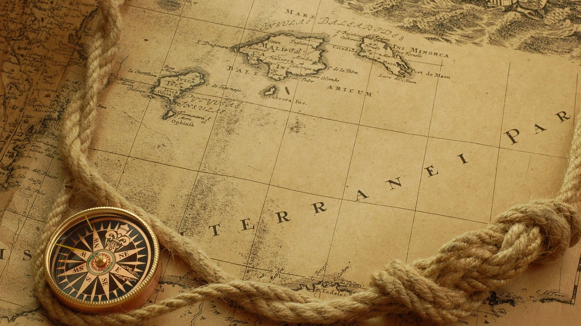 old-map-parchment-compass-rope-1920x1080.jpg (1920×1080 ...