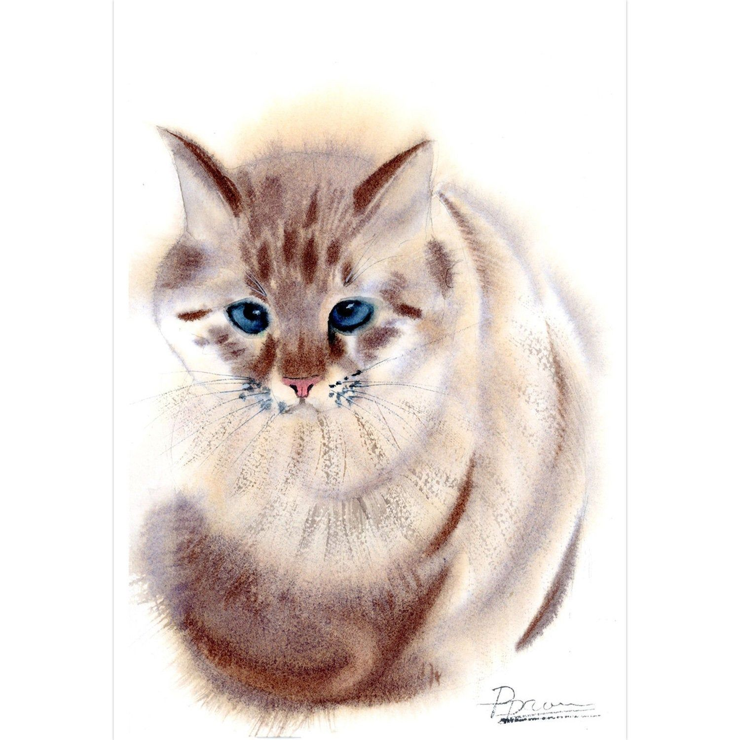 Cat Painting Original Watercolor Wall Art Room Decor Animal On White Background Sitting Kitten Artwork Gift By Pa Cat Painting Original Paintings Artwork Gifts