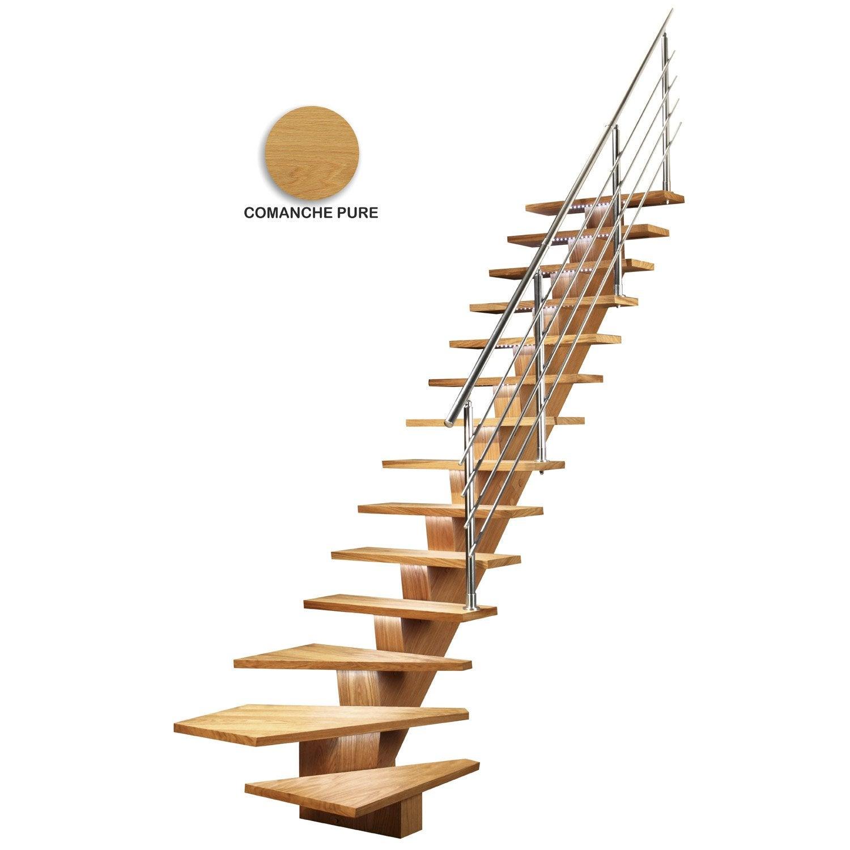 Escalier 1 4 Tournant Bas Droit Bois Chene Kalea 14 Marches Chene L 85 Cm Sogem Escalier Escalier Quart Tournant Escalier Droit