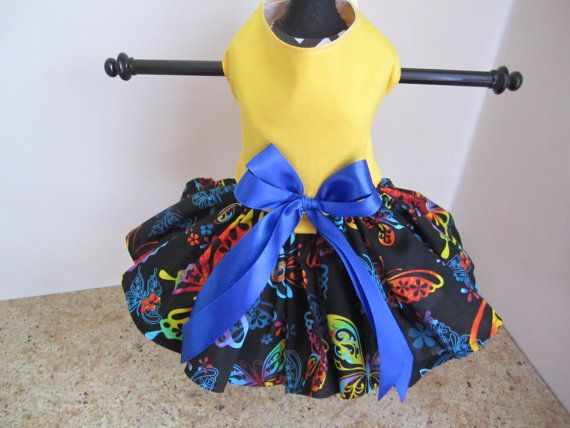 Dog Dress XS Yellow with butterflies By by NinasCoutureCloset