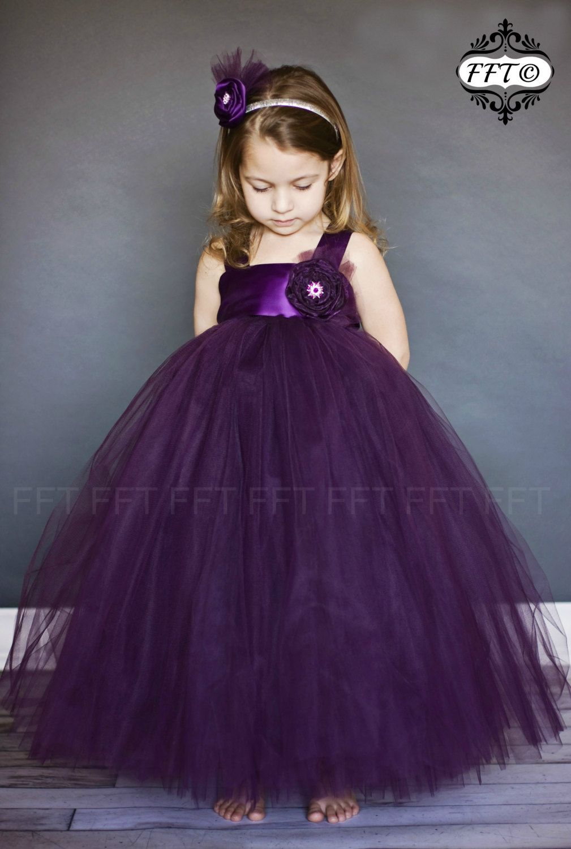 Plum Eggplant Flower Girl Tutu Dress  Girls dresses Birthdays ...