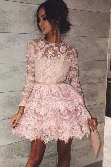 H47 O-Neck Lace Long Sleeve Short/Mini Homecoming Dress Pretty Homecoming Dresses
