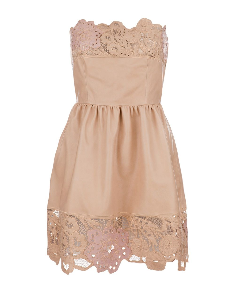 Kaffee Abendkleider Valentino Butter Soft Nude Leather Dress With Laser Cut Hem And