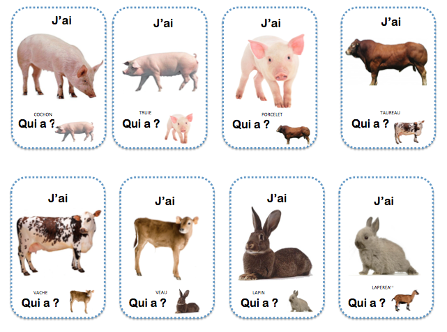 Préférence J'ai. Qui a ? Famille animaux ferme | Projets à essayer  TS34