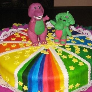Barney and Baby Bop cake Lyla Birthday Party IdeaBarney