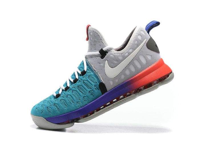 buy popular 29ae5 143ca Sale New KD 9 IX Flyknit Sport Turquoise Grey Grape Red Kevin Durant Shoes  2017
