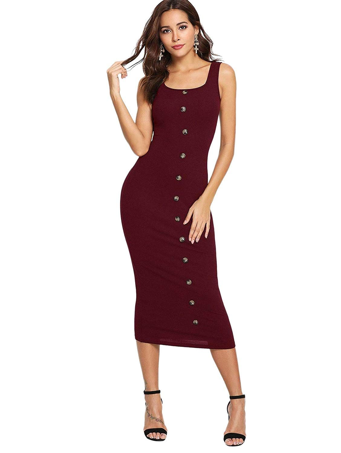 2ea5a3462b SheIn Women's Sleeveless Square Neck Button Front Bodycon Ribbed Knit Tank  Dress at Amazon Women's Clothing store: