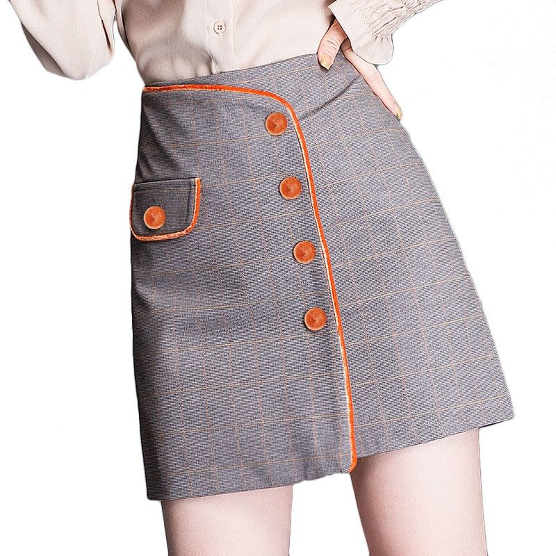 Womens Elastic Waist Button Front Plaid A-Line Short Skirt with Pockets