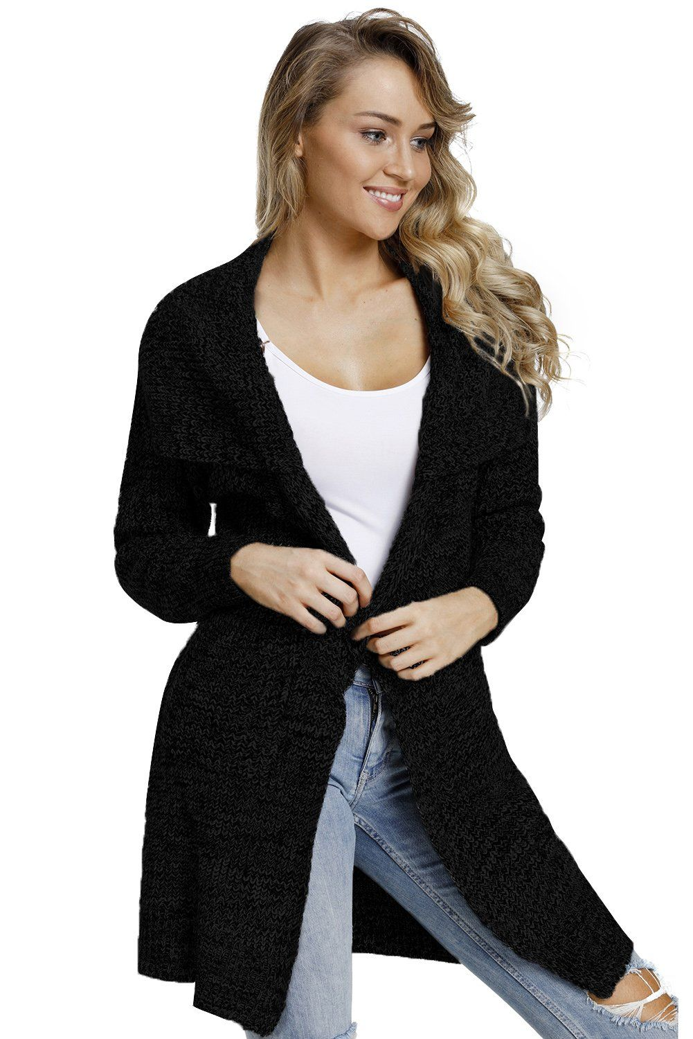 Photo of Z| Chicloth Black Chunky Long Cardigan with Side Pockets-Cheap Coats for Women