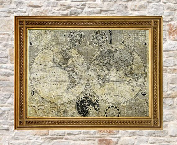 Vintage world map print antique world map old world map wall art vintage world map print antique world map old world map wall art world gumiabroncs Gallery