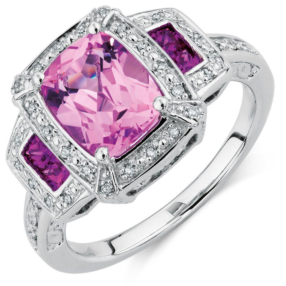 CREATED PINK SAPPHIRE & DIAMOND RING | pink | Pinterest | Sapphire ...