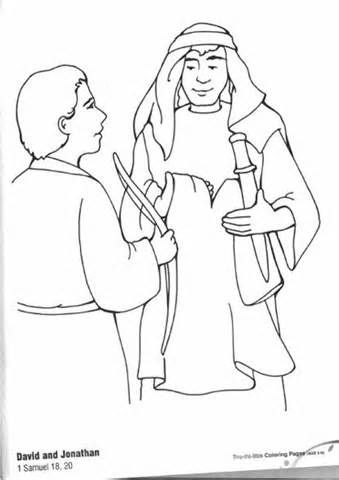 David And Jonathan Friendship Coloring Pages sketch