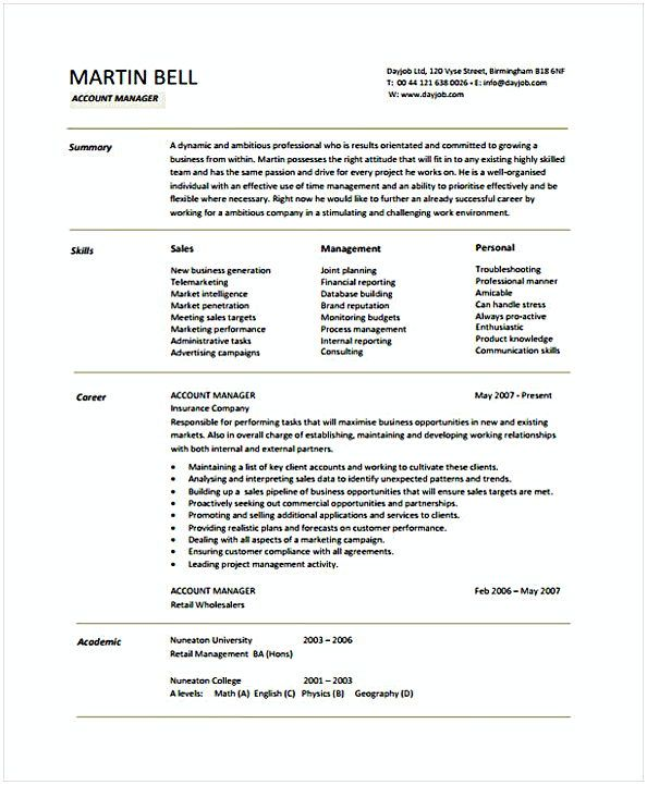 Account Manager Resume Account Manager  Account Manager Resume Sample  If You Are