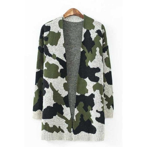 Army Green Camouflage Long Sleeve Chic Knit Cardigan ($30) ❤ liked on Polyvore