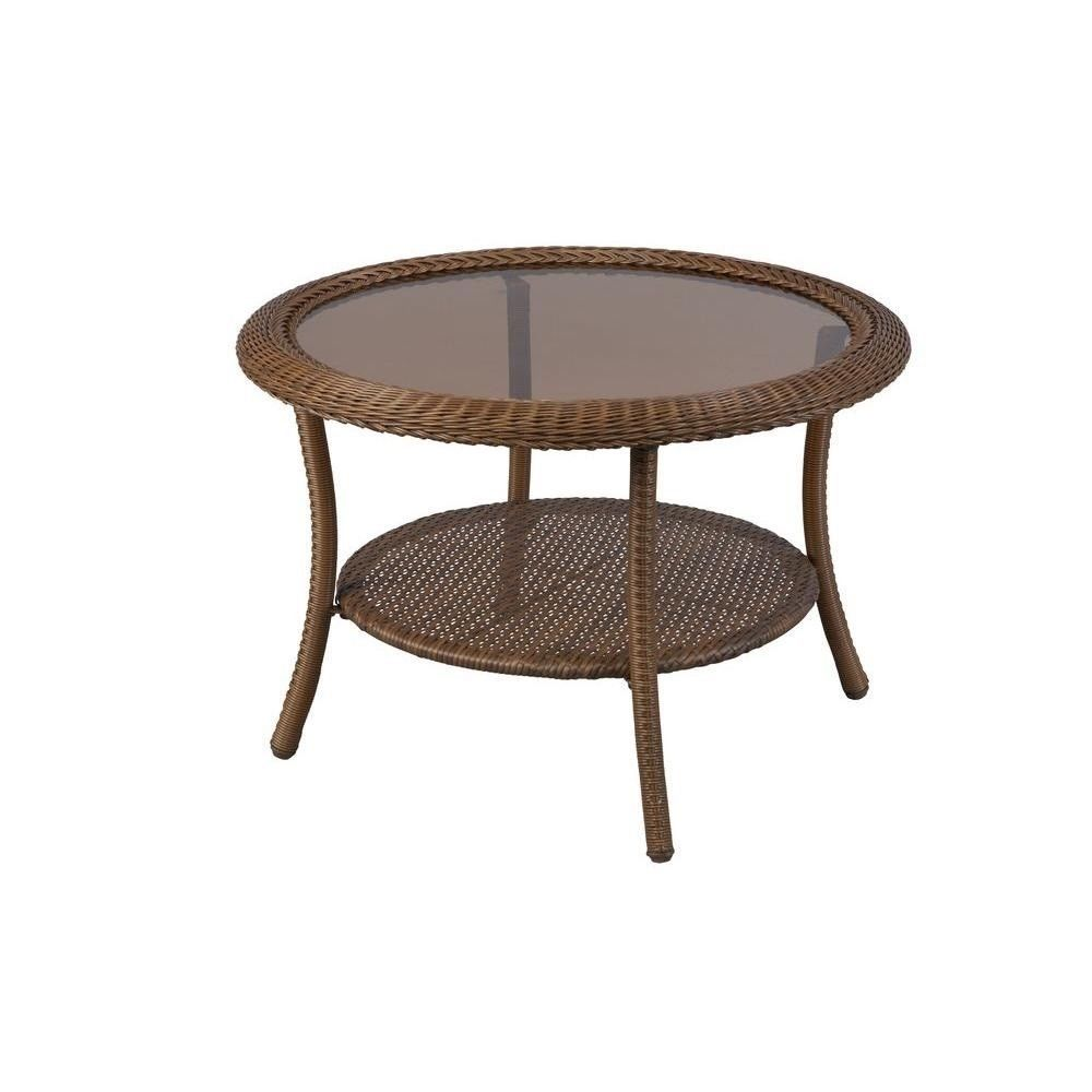 Hampton Bay Spring Haven Brown Wicker Round Patio Coffee Table All