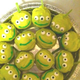 These clever aliens were made (by my talented daughter).  Take a cooled baked cake, crumble it, add frosting until it forms balls, frost, and decorate!  Tasty and tons of fun!!!