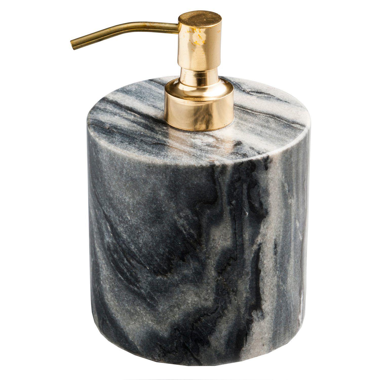 Saippuapumppu, harmaa marmori/messinki ryhmässä Sisustustavarat / Kylpyhuoneen sisustus / Saippuapumput @ ROOM21.fi (130576)