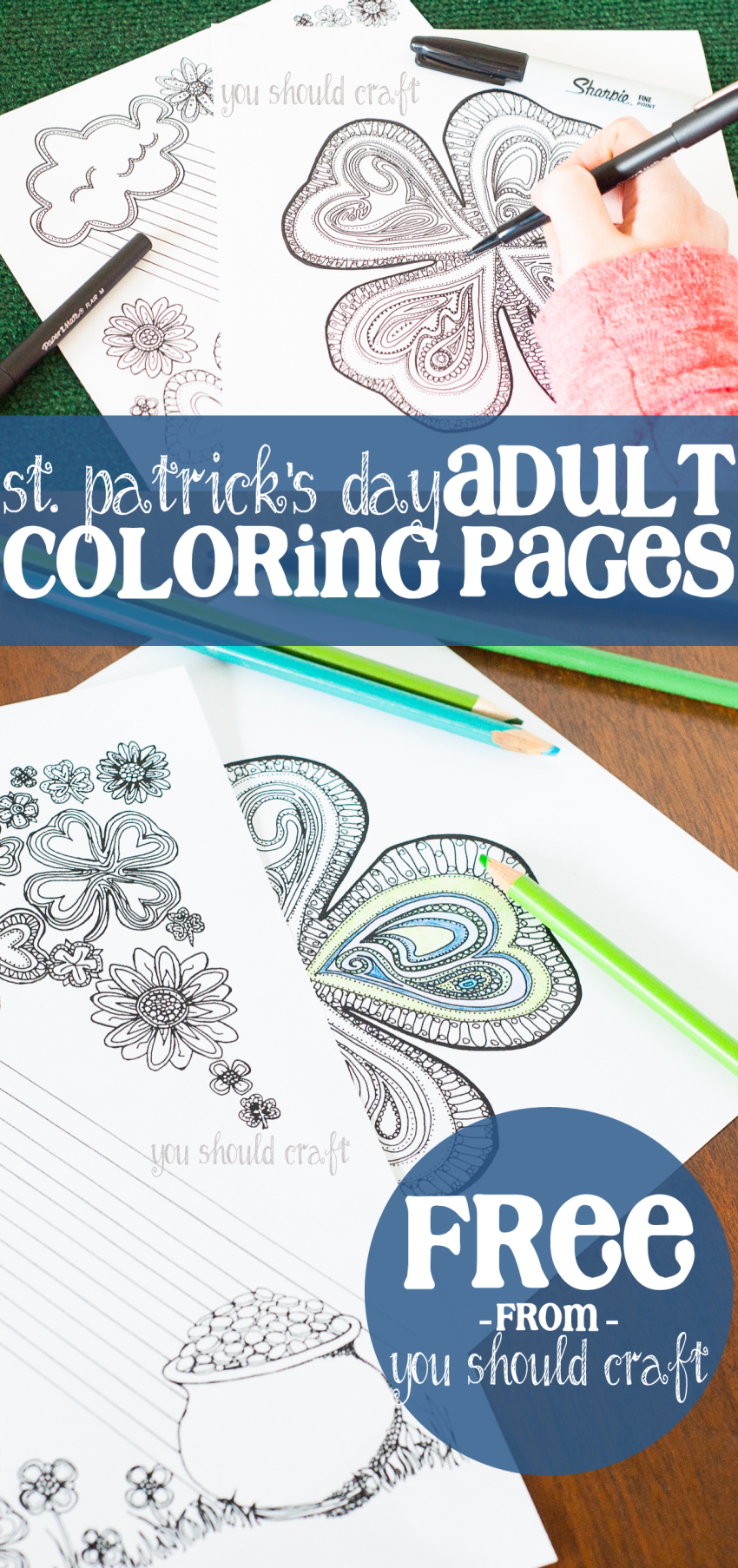 Free coloring pages shamrock - Adult Coloring Pages For St Patrick S Day