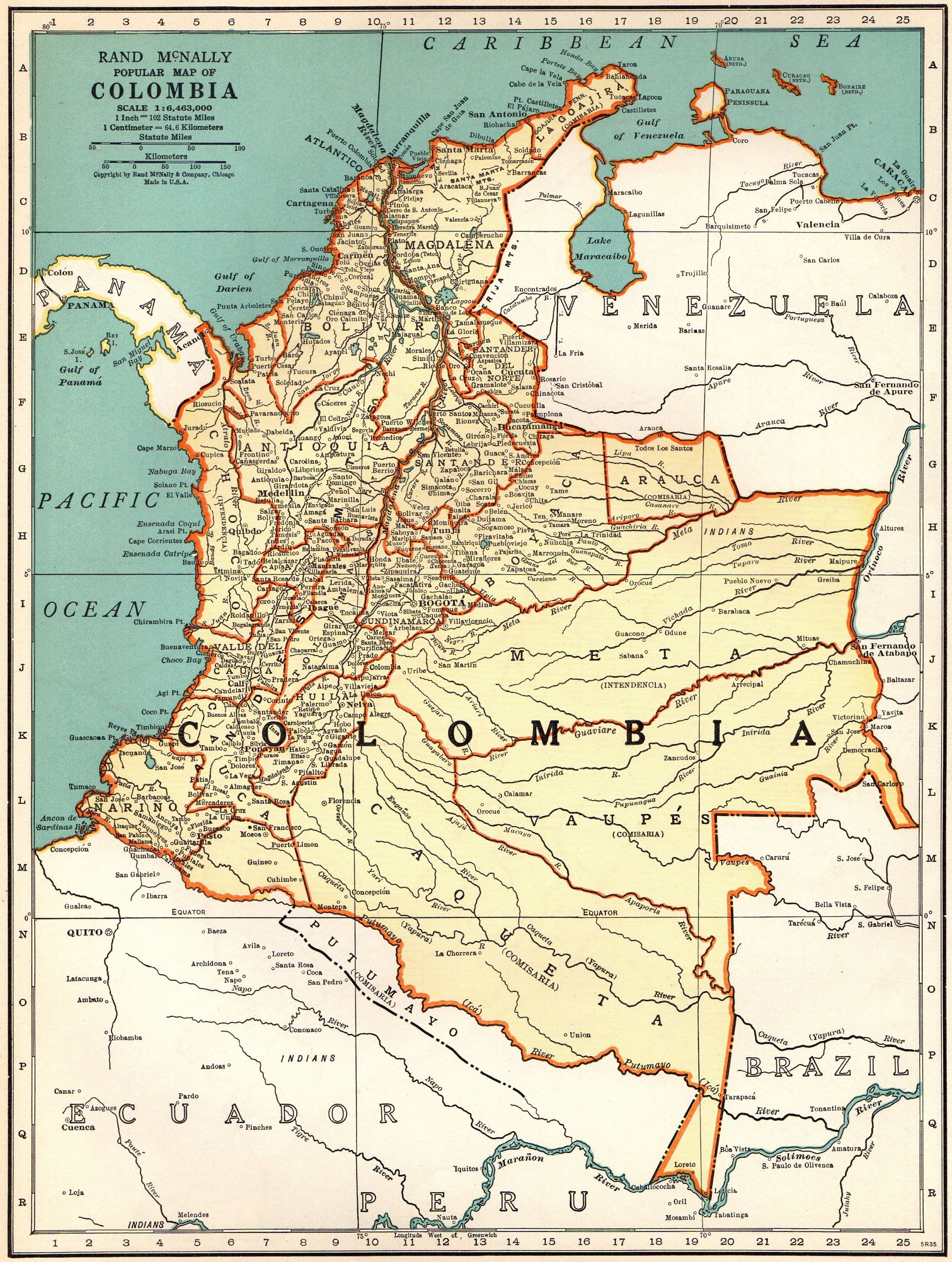 1940 Antique Colombia Map Vintage Map Of Colombia Gallery Wall Art