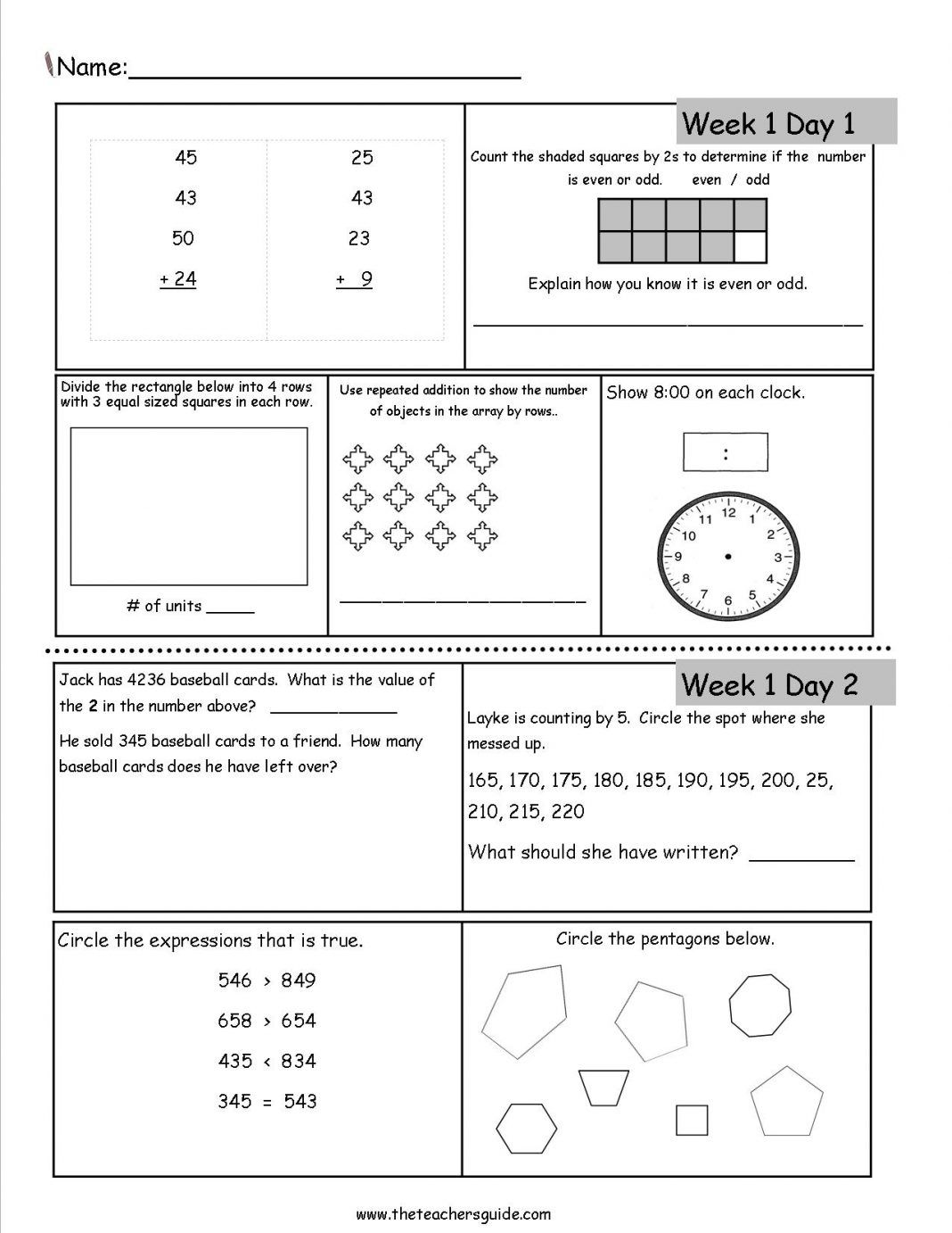 3rd Grade Math Worksheets Dailymath3rd In With