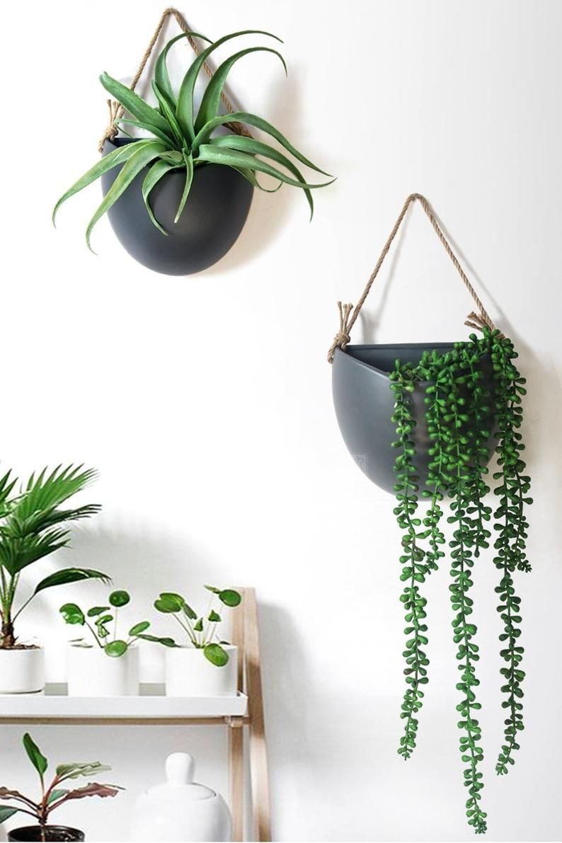 Different Sizes Handcrafted Hanging Ceramic Wall Planters Wall