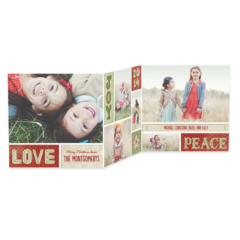festive memories tri fold christmas cards in scarlet or seafoam petite alma - Tri Fold Christmas Cards
