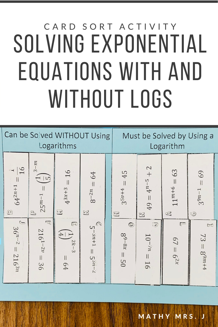 Solving Exponential Equations Card Sort Activity Sorting