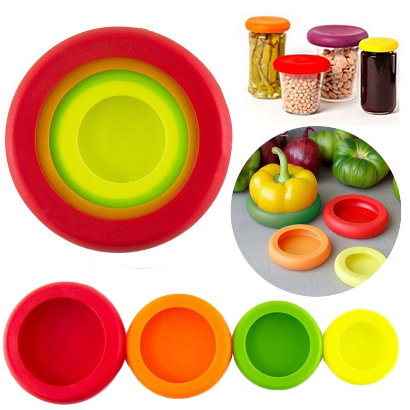 4pcs Silicone alimentos frutas vegetais Huggers definir Saver armazenamento capa