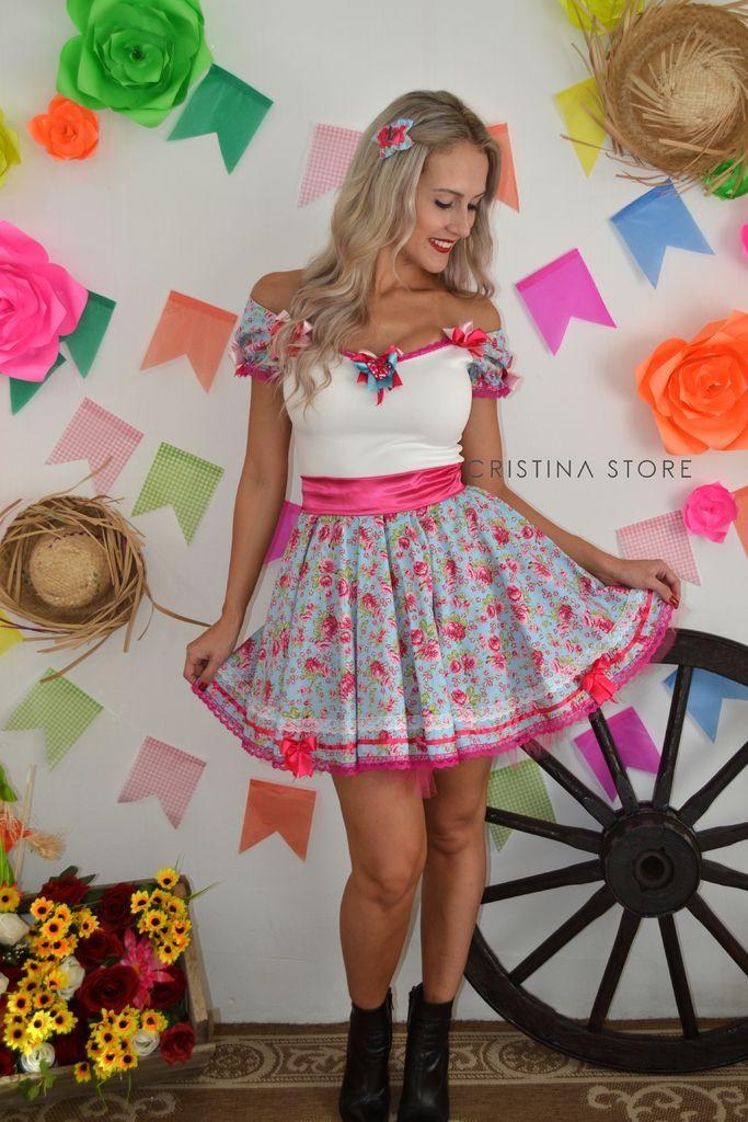 Vestido Floral Azul - Caipira Chic - loja online