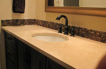 bathroom tile backsplash. Popular Bathroom Tile Backsplash Photos | With An Undermount Oval Sink