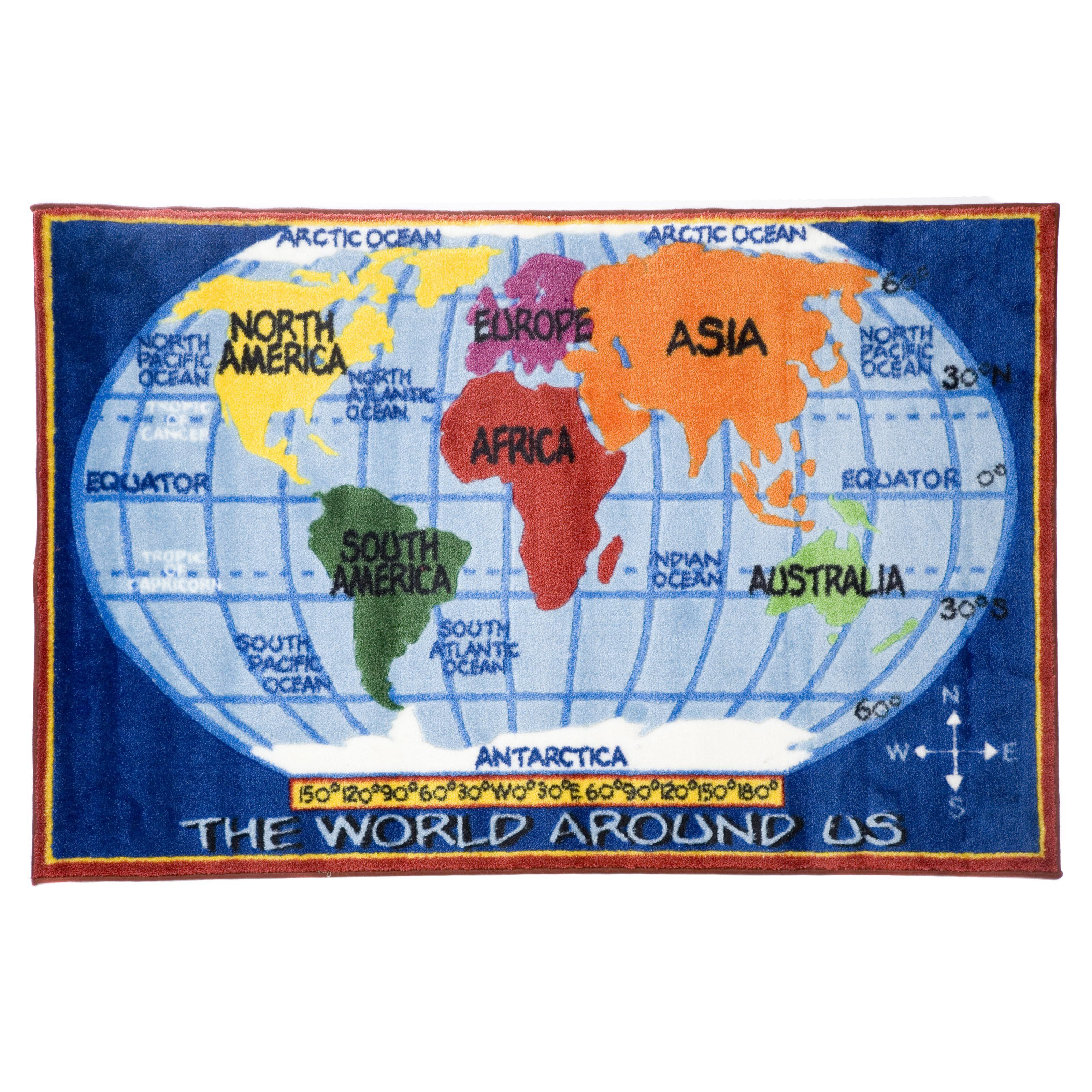 L.A. Rugs World Map Kids Area Rug | www.hayneedle.com | All about ...
