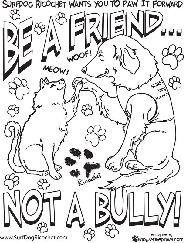 coloring pages for respect | Surf Dog Ricochet\'s anti bullying ...