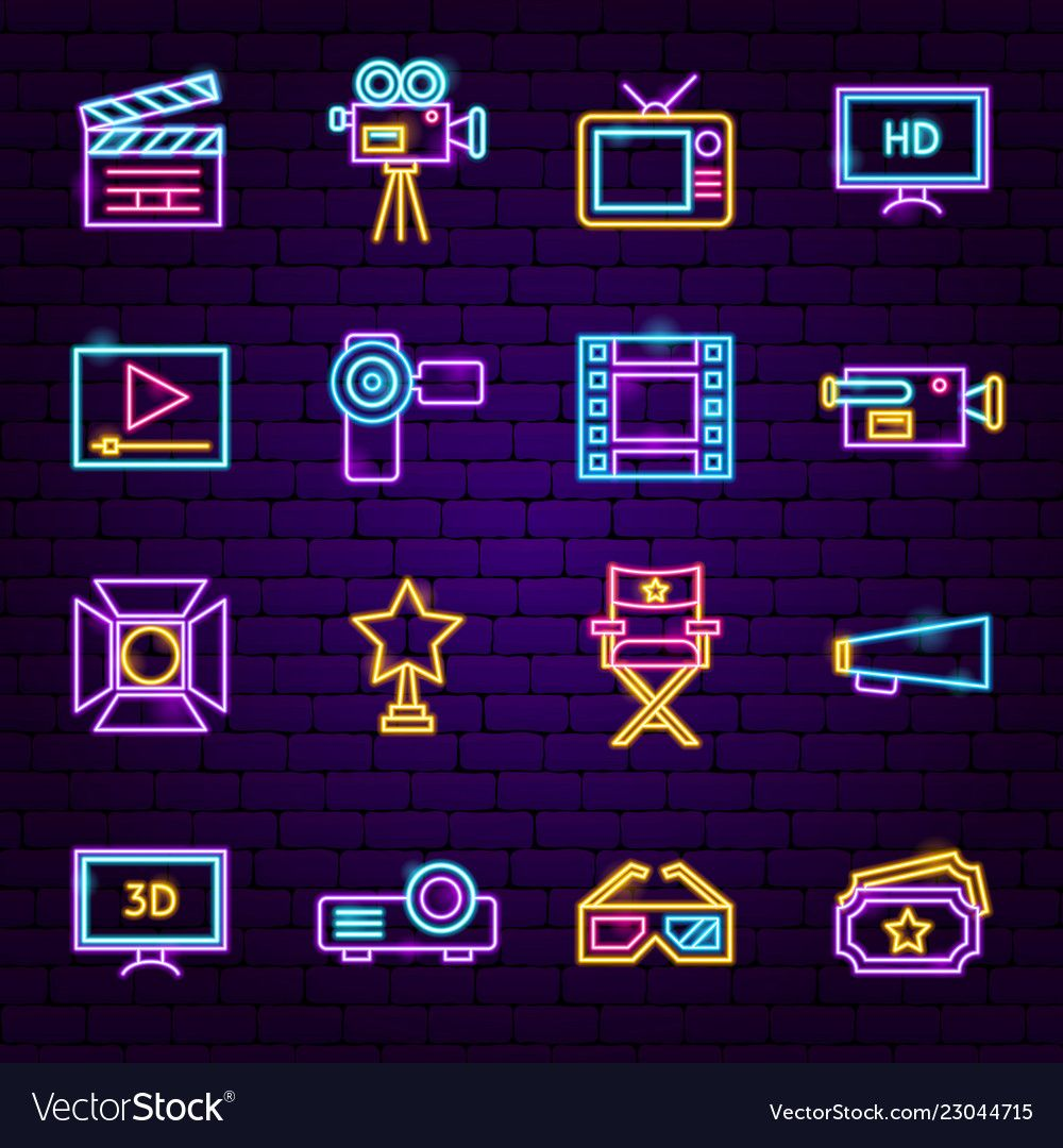 Film neon icons vector image on VectorStock in 2020