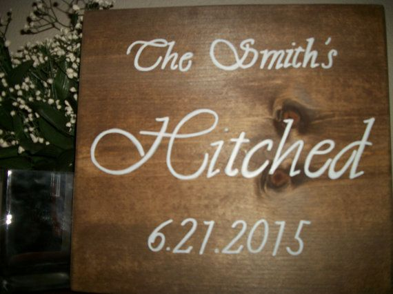 Personalized wedding wood sign hand lettered by SignReads on Etsy