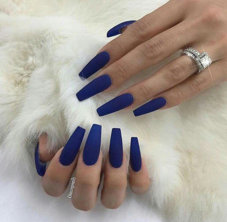 Lilshawtybad Navy Acrylic Nails Blue Coffin