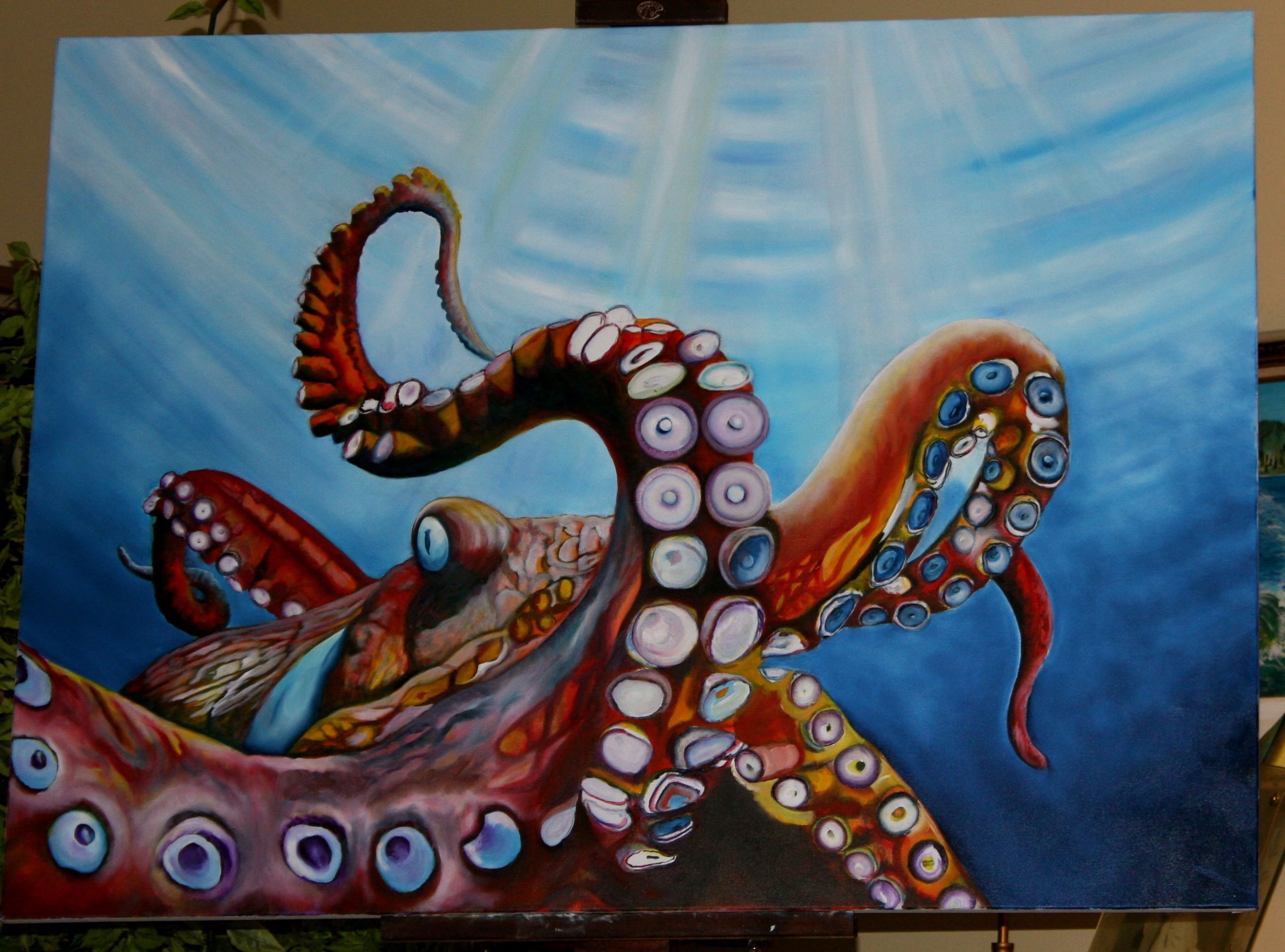 Octopus painting octopussy octopodes pinterest for Sea life paintings artists