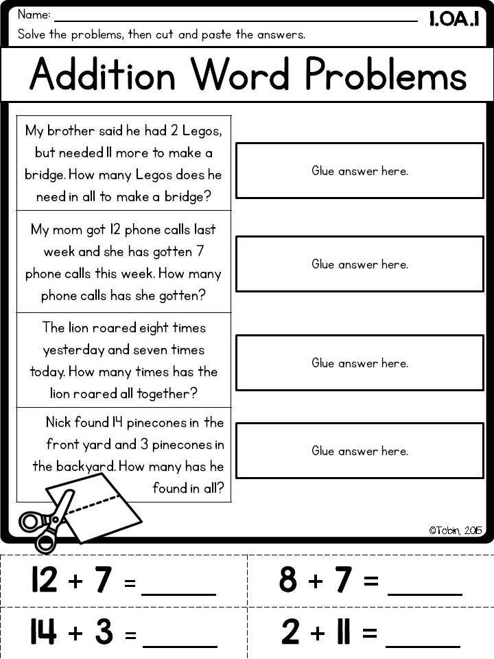 Addition Word Problem Printable For First Grade 1 Oa1 Math Word Problems Math Words Word Problems