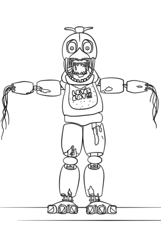 FNaF Withered Chica Coloring page | fnaf | Pinterest | Colores ...