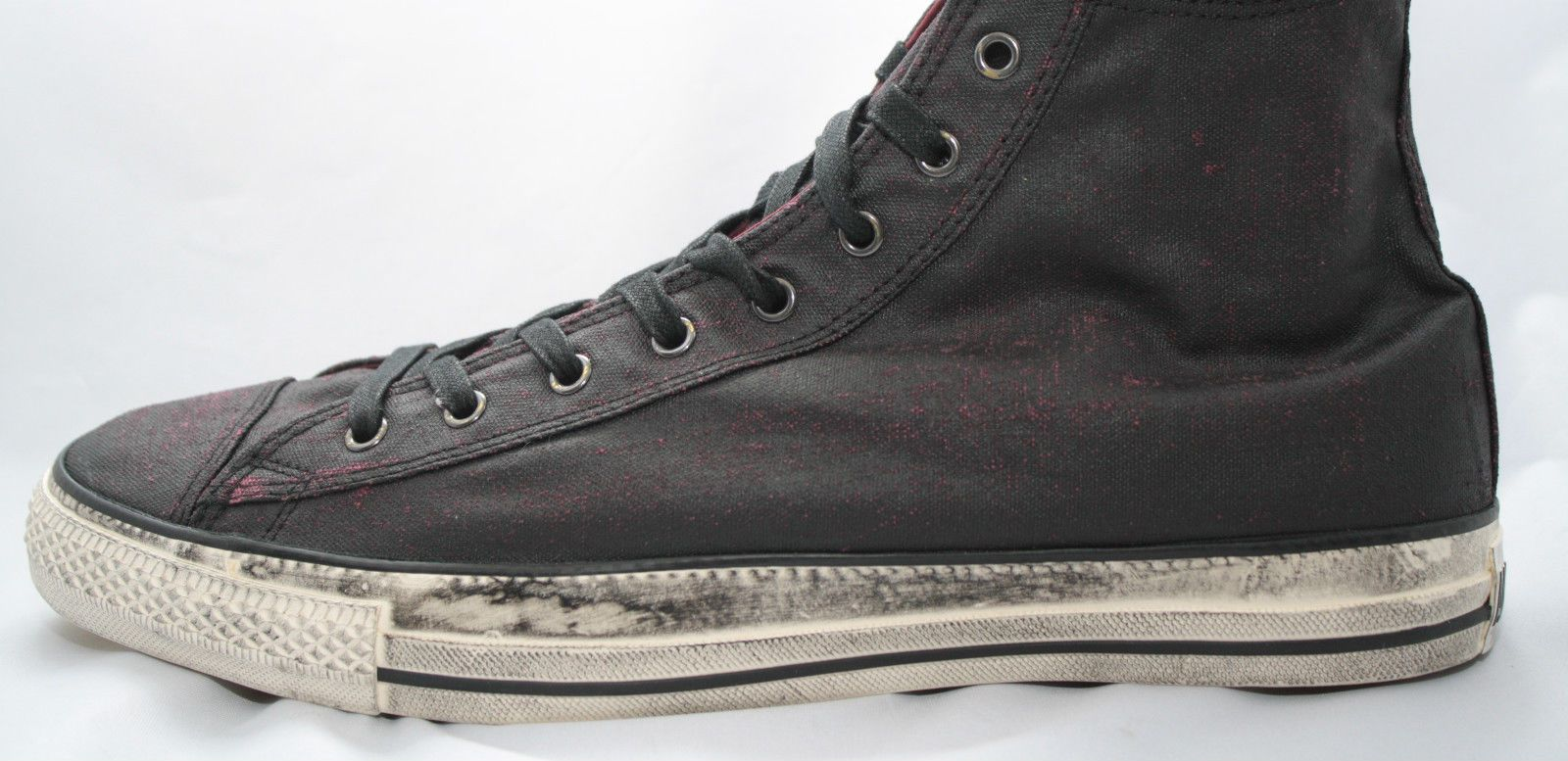 cb8a90268f80 Mens Converse Chuck Taylor John Varvatos All Star Black Burgundy RARE  Painted Hi