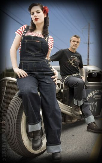 Rumble59 Denim Playsuit   Classic dungarees made of stretch denim  Fashion of the 50s from premium style   Rockabilly Rules &#9742 Order Hotline &#9733 buy online