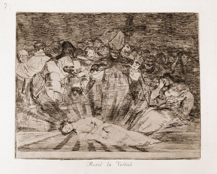 """Desastres de la guerre : """"La verite est morte"""" (Murio la verdad) Eau forte d'apres dessin preparatoire au crayon rouge n°79 de Francisco de Goya y Lucientes (1746-1828)"""