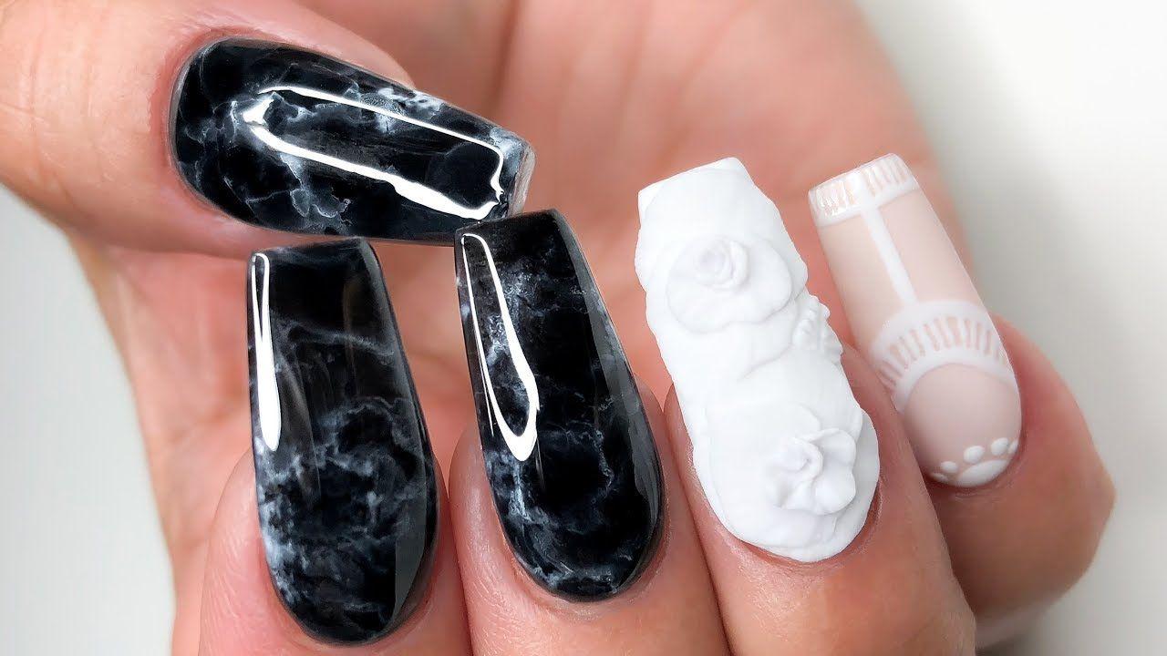 ♡ Onyx Marble ♡ Coffin Acrylic Nails - YouTube | Nails | Pinterest ...